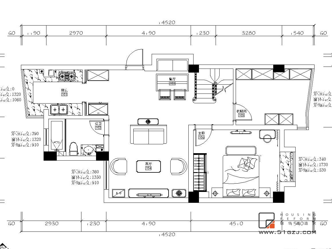 金虹花园老房翻新装修-200平米-混搭装修-大户型-混搭