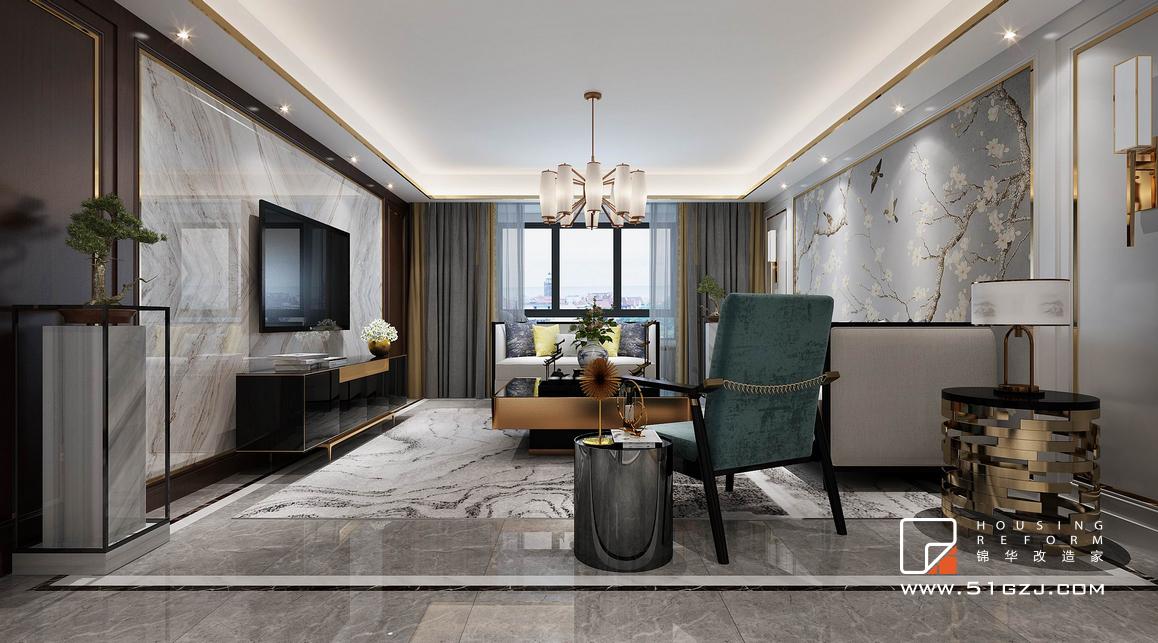 枫丹白露二手房装修-145平米-新中式装修-三室两厅-新中式