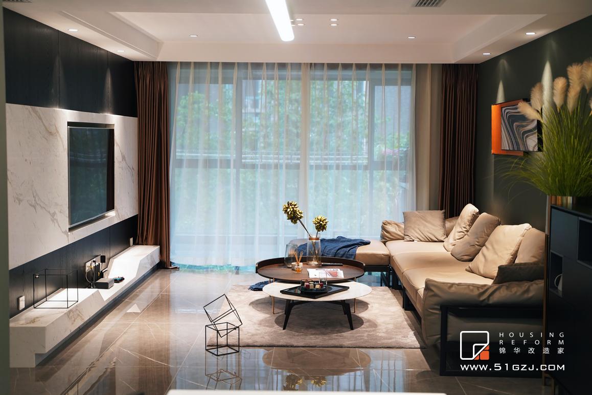 蔚蓝都市花园老房翻新-130平米-现代简约装修-三室两厅-现代简约