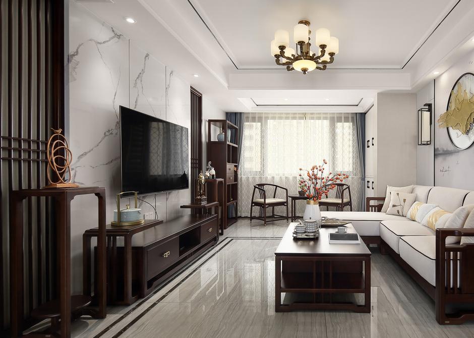 【融僑中央花園】137平米二手房翻新裝修案例-四室兩廳-新中式