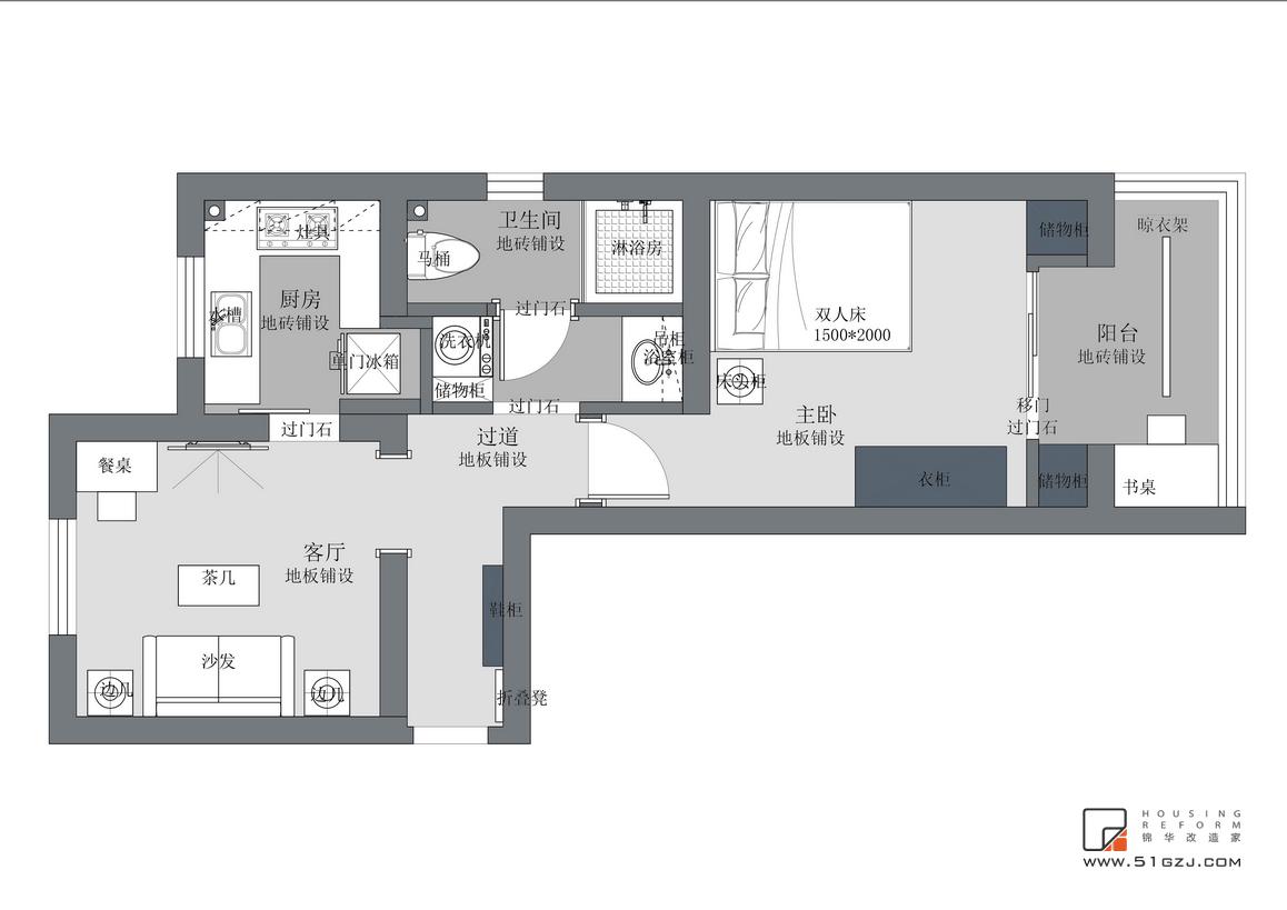 琵琶小區二手房翻新-40㎡-現代簡約裝修-小戶型-現代簡約