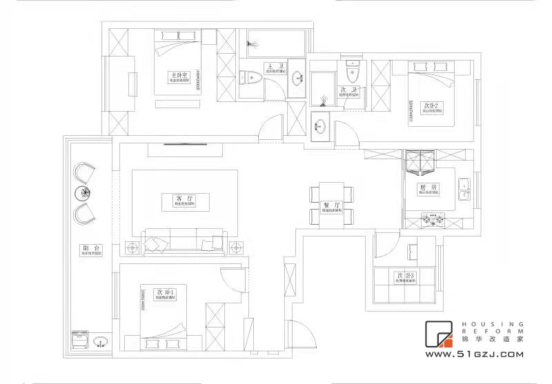 香悅瀾山二手房翻新-120㎡-現代輕奢裝修-三室一廳-現代簡約